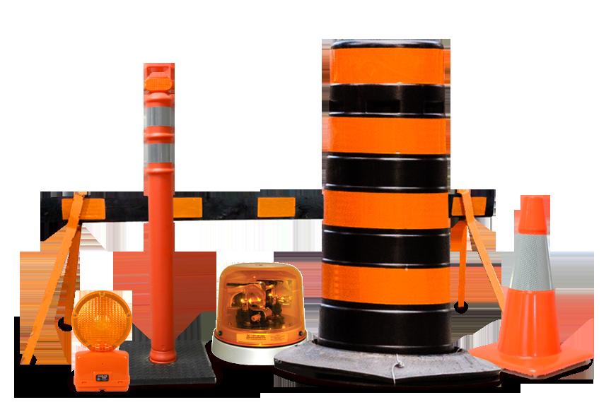 Pylons, Barrels, Barricades, Warning Lights